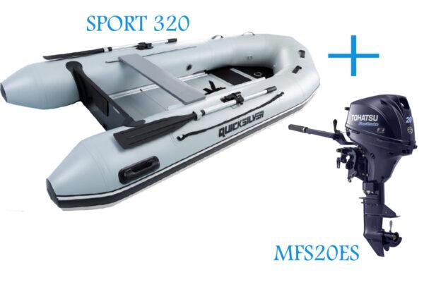 Quicksilver Sport 320 Grey PVC Inflatable Boat and Tohatsu MFS20ES 20Hp 4  Stroke Electric Start Tiller Control Short Shaft Motor Boat Engine Bundle