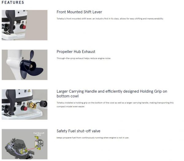 Tohatsu 5hp Liquefied Petroleum Gas (LPG) Outboard Engine Manual Start,  Tiller Handle (Factory Fitted) - Short / Long Shaft