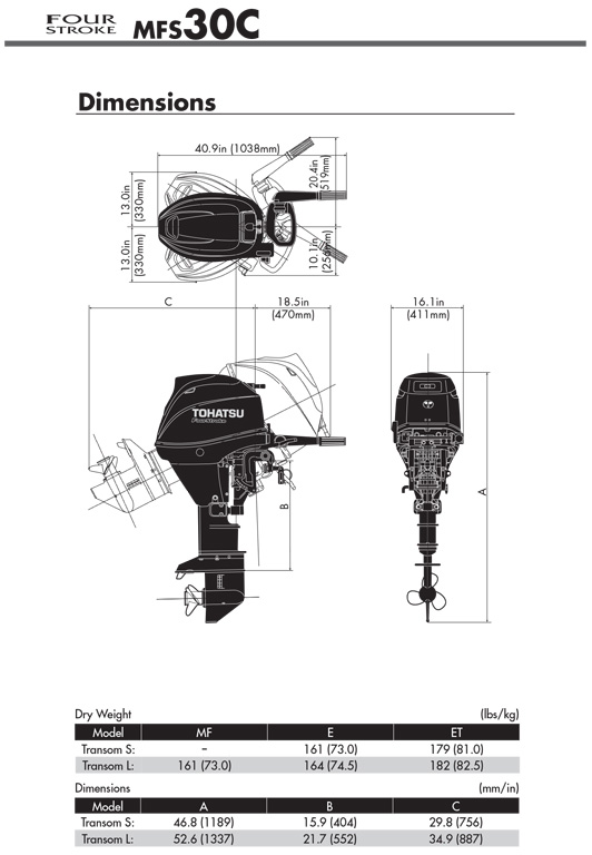 Clearance Sale! Tohatsu MFS30C EPL 30hp 4 Stroke Outboard Motor Engine  Electric Start, Remote Control, Long Shaft