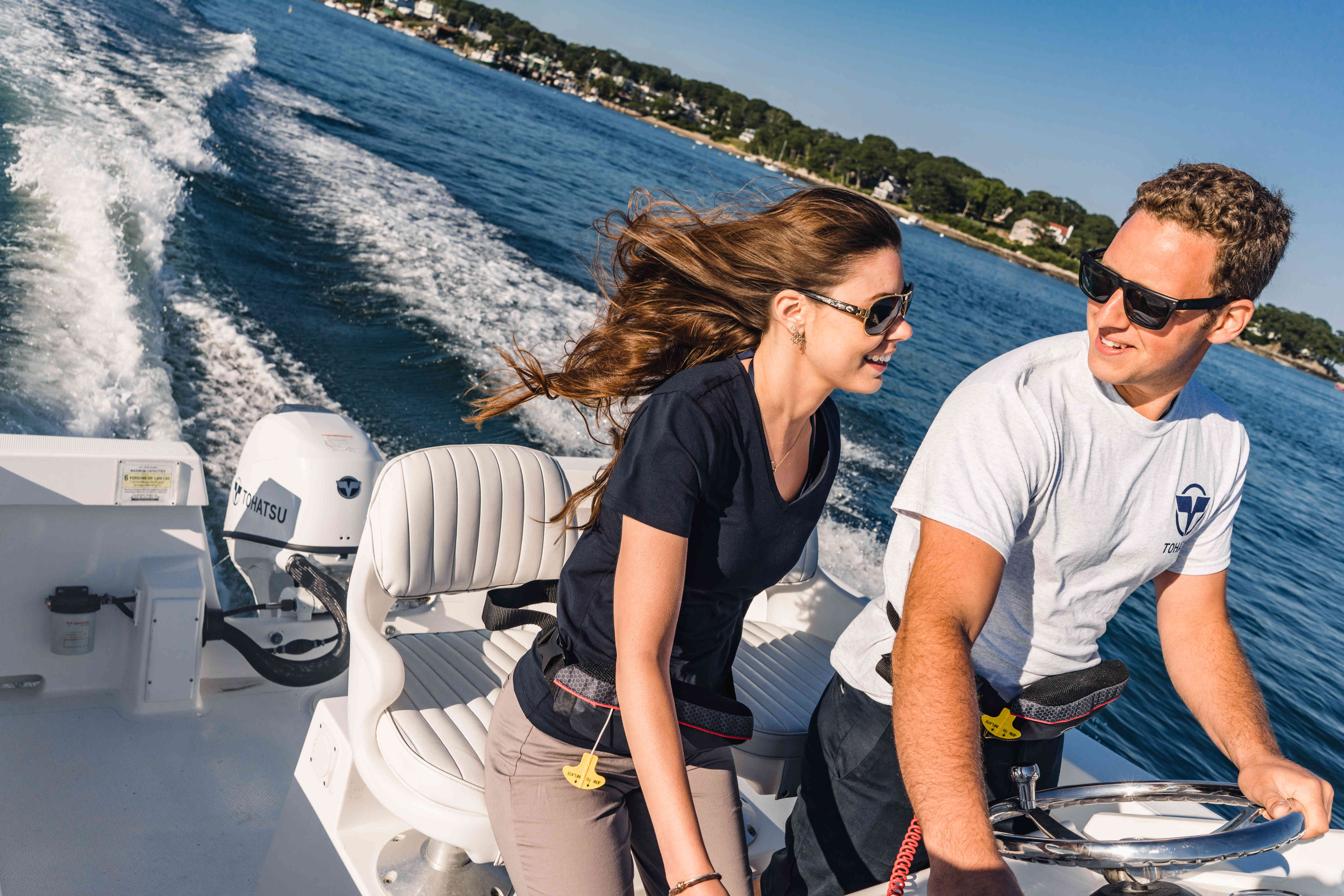 Clearance Sale! Tohatsu MFS50AW EPTL 50hp 4 Stroke Outboard Motor Engine  Electric Start, Power Trim & Tilt, Remote Control, Long Shaft (WHITE) BRAND